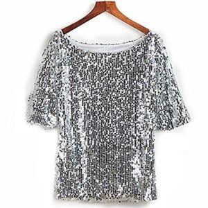 Tops - Silver Glitter Sequin Short Sleeve Top